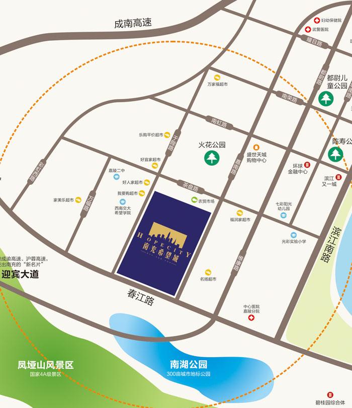 南充锦绣田园风景地图