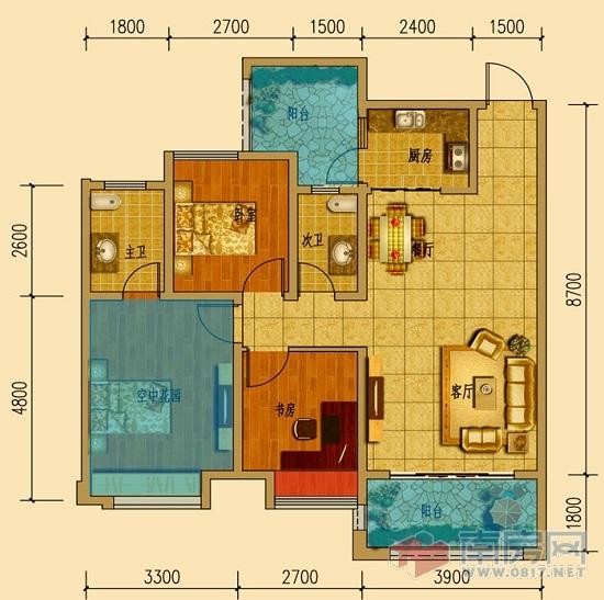 客厅和厨房外都带有超大观景阳台,2个阳台面积就达到了13.