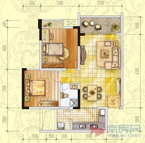 长方形两室房子格局设计图