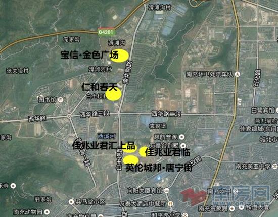 卫星地图上集中显现的城西